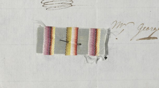 a silk swatch has been pinned to the letter to show what the client wanted. Striped silk designs were particularly popular in the late 18th century.
