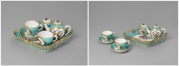 The pieces that make up this 1761 Sèvres tea service have been photographed individually and also together in these groupings, suggestive of their use.