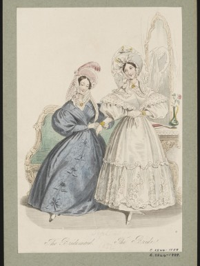 'The Bridesmaid, The Bride' fashion plate, La Belle Assemblee, September 1832 © V&A Collection