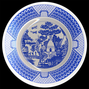 Plate, bone china, printed overglaze with The Potteries Willow pattern. Gladstone Pottery Museum, Longton, Stoke-on-Trent, circa 1984.© Potteries Museum & Art Gallery, Stoke-on-Trent.