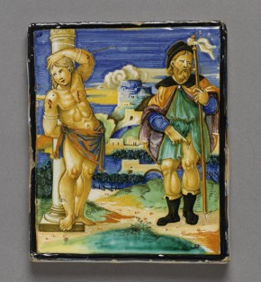 C.2253-1910, painted tile showing SS. Sebastian and Roch © Victoria and Albert Museum, London