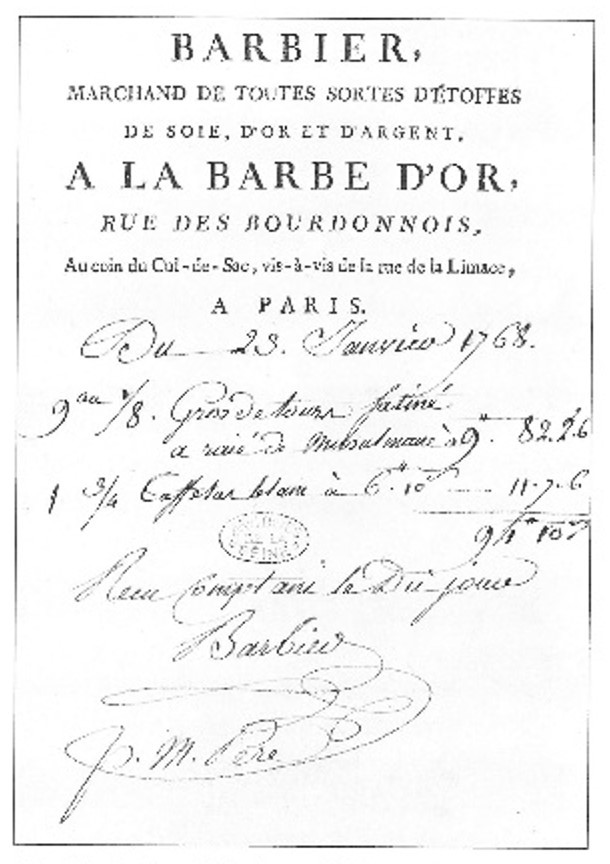 Barbier's trade card with a handwritten bill dated 23rd January 1778. Archives de la Ville de Paris.