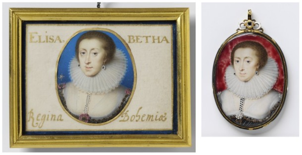 Two portrait miniatures of Elizabeth of Bohemia, watercolour on vellum, painted by Peter Oliver, ca. 1623-1626. V&A P.27-1975 & DYCE.88