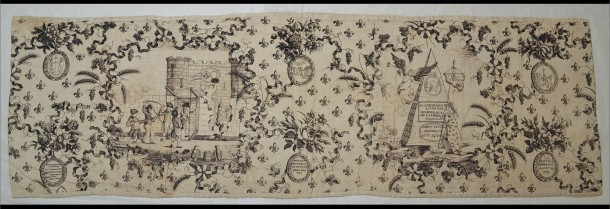 The Storming of the Bastille, valance, plate-printed cotton, probably English ca.1790 (V&A T.63-1936) © Victoria and Albert Museum, London