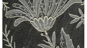 Detail of flower motif on needle lace veil, Belgian, 1890