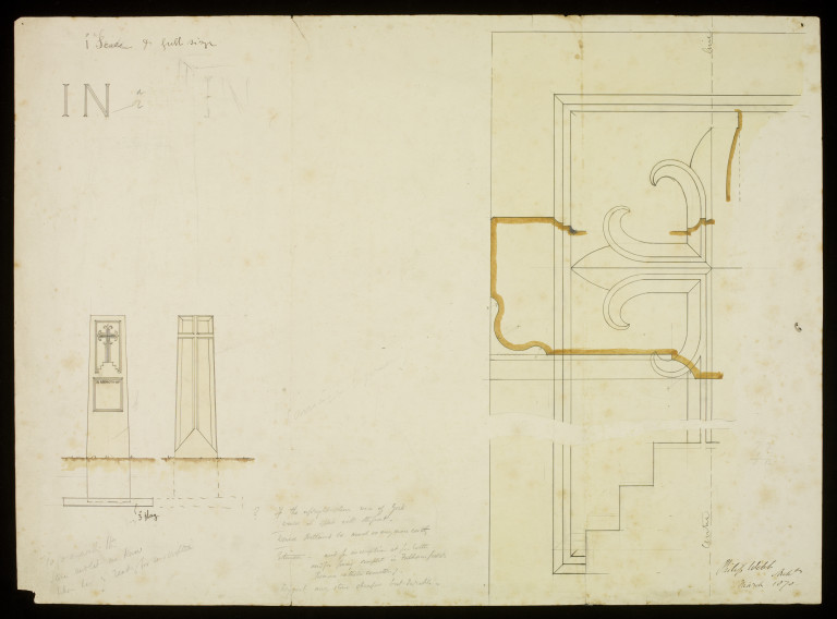Design for a gravestone for Alphonse Warington Taylor by Philip Webb, 1870. Museum number E.398-2014 ©Victoria and Albert Museum, London