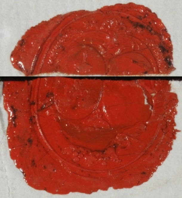 Visual reconstruction of Mde de Maupeau's wax seal