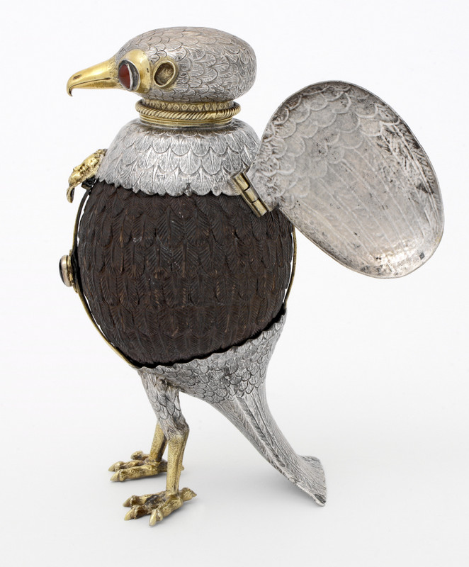 FALCON CUP (WITH OPEN WINGS) Silver, coconut, cameo, semi-precious stones Ulm (Germany), ca. 1600 Museum no. Loan:Gilbert.61:1,2-2008