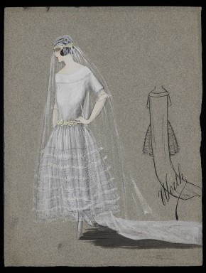 Sketch of a wedding dress and framed veil by Worth, London, c.1922 © V&A Collection