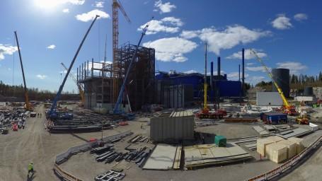 Vantaan Energian jätevoimalan laajennustyömaa on edennyt päälaiteasennuksiin