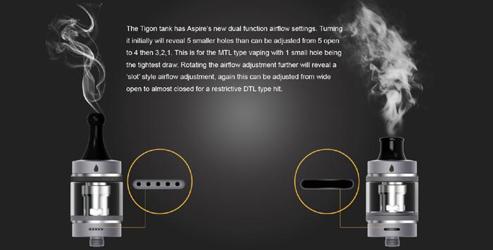 Avec son kit Tigon, Aspire nous propose une belle polyvalence, car malgré le fait qu'il soit pour les débutants, le Tigon peut faire du MTL et du DTL.
