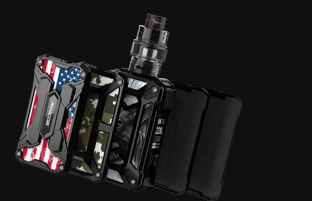 The Rincoe Mechman 228W Mesh kit is made up of Mechman 228 Watts mod and the Mechman tank with Mesh coils.