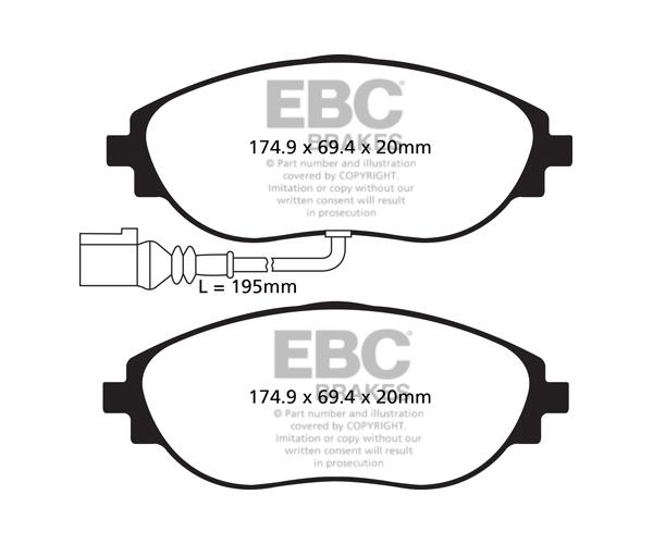 EBC YellowStuff Front Brake Pads for Seat Leon Mk3 5F 2.0 Turbo Cupra DP42127R