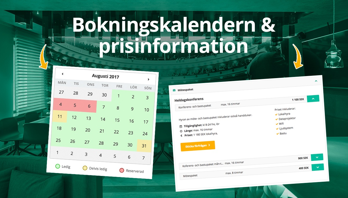 Färre onödiga förfrågningar: synkronisera kalendern med Venuu profilen och lägg upp priser