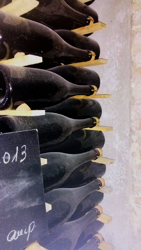 Botellas en rima en la visita a las cavas Maria Rigol Ordi
