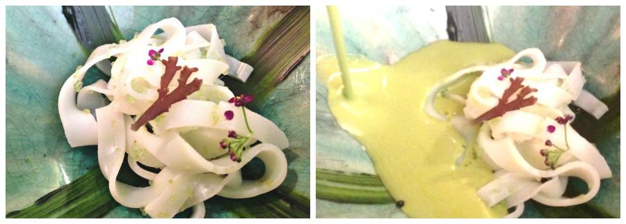 Aponiente: ajo verde, ajo blanco y tagliatelle de calamar