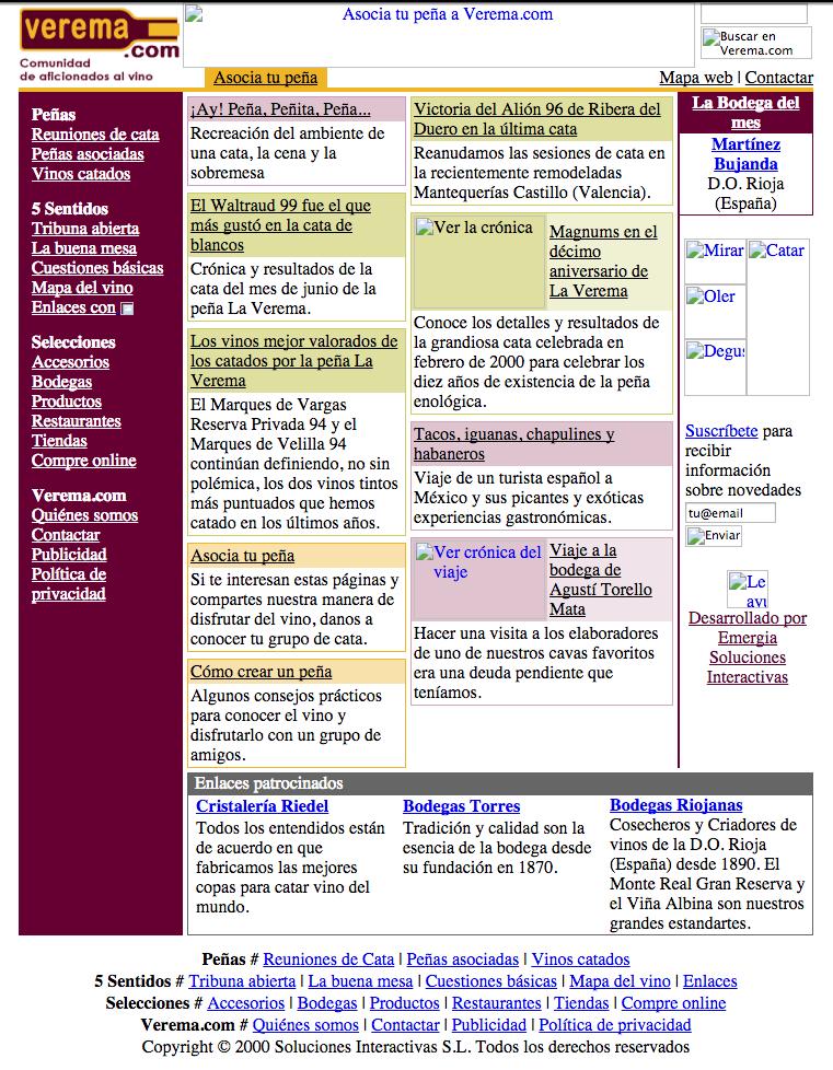 Portada de Verema.com en diciembre 2000