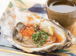 Oypon: ostra amb gelatina de Ponzu i soia, ous de salmó, cibulet i shichimi (7 espècies picants), amb escó de llimó, i servit amb Umeshu (licor de pruna).