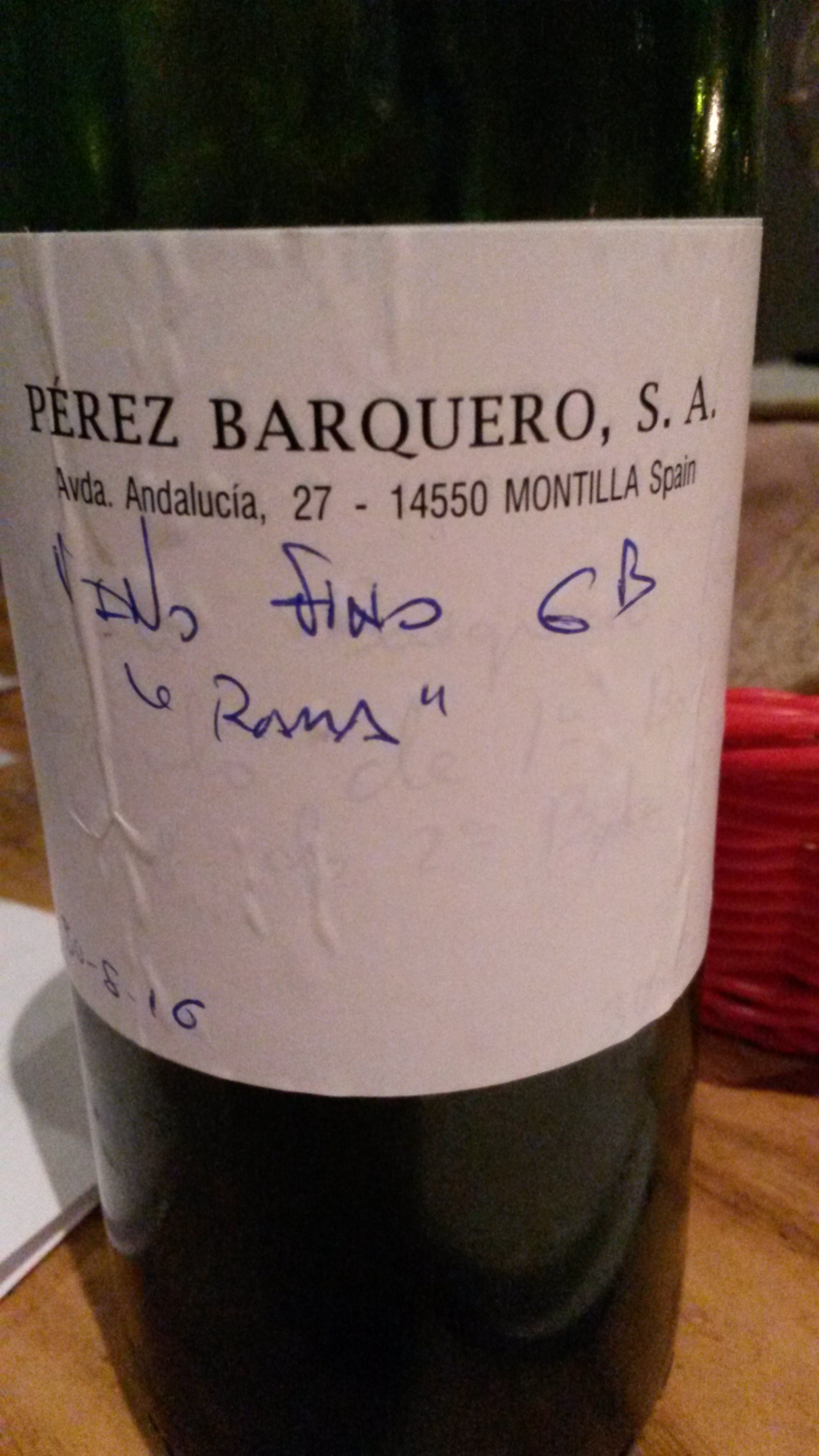 Fino Solera Los Amigos, de bota (30 agosto 2016). Pérez Barquero (Montilla)