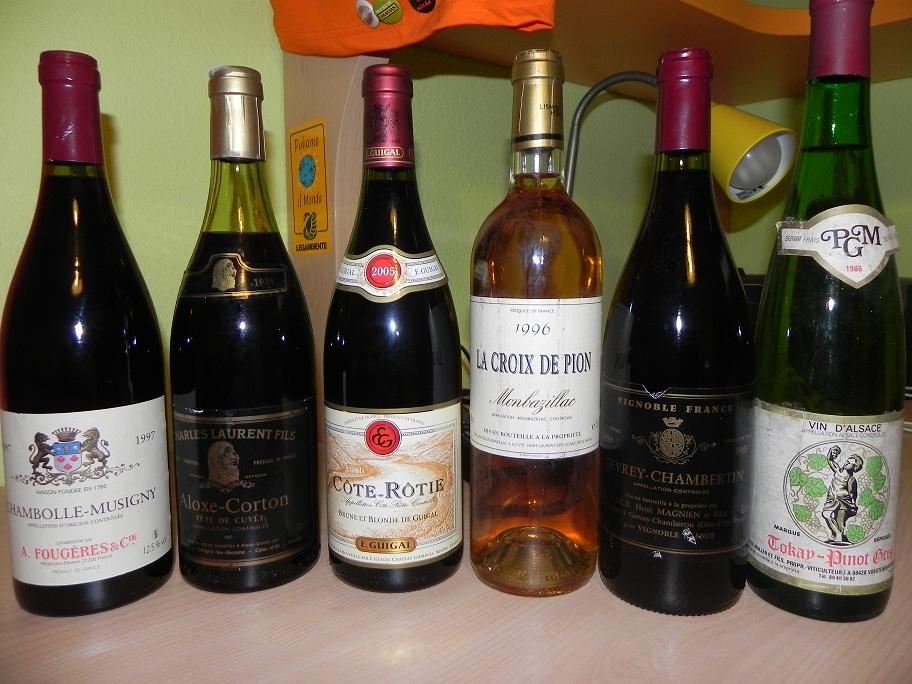 Musigny 97 - Corton 84 - (Cote-Rotie 2005) Montbazillac 96 - Gevrey chambertin 89 - Tokay Pinot Gris 86