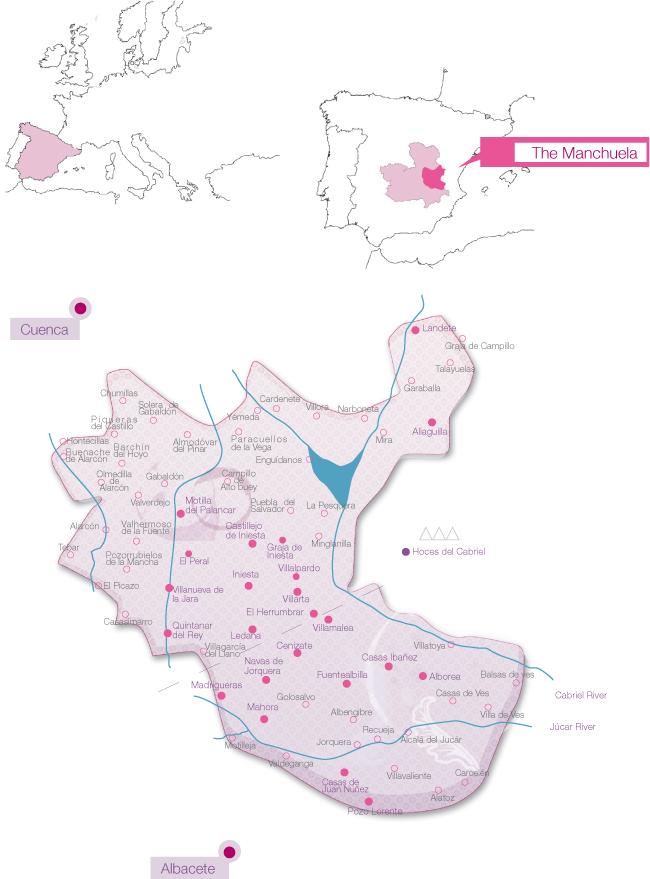 Mapa de la D.O. Manchuela