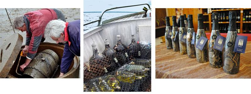 Vino extranjero envejecido bajo el mar