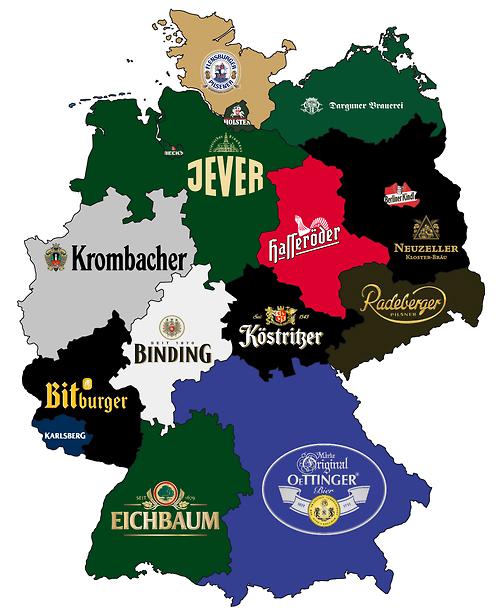 Mapa cervezas de Alemania