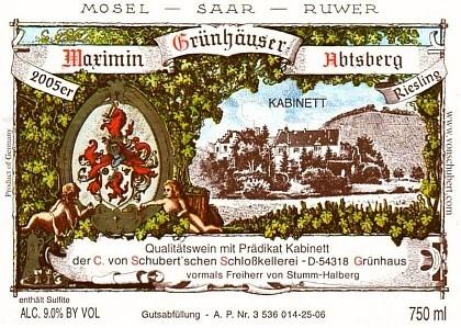clasificación vinos alemanes, etiqueta Kabinett