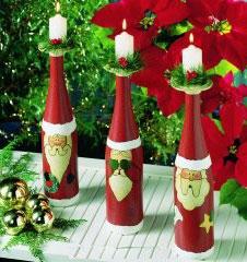 Manualidades para navidad con botellas de vino verema - Botellas decoradas navidenas ...