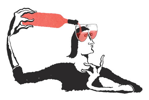 Copa de vino rosado