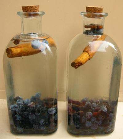 Botellas de pacharán casero macerando