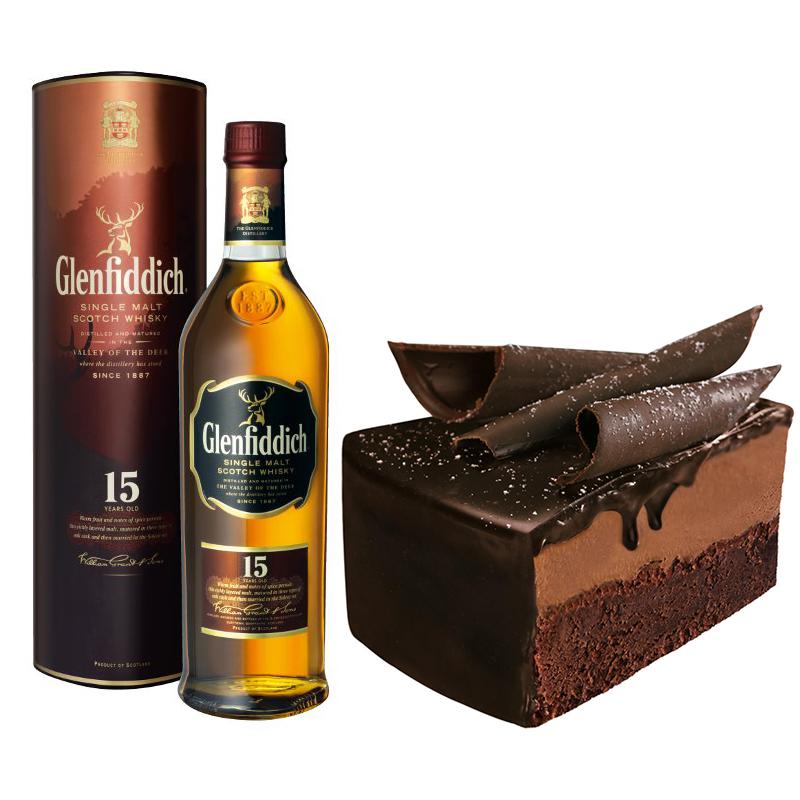 Glenfiddich 15 con pastel de chocolate