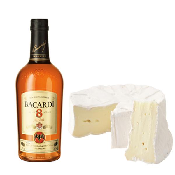 Ron Bacardi 8 con queso brie