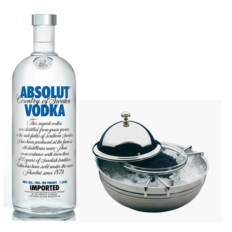 Vodka Absolut con caviar