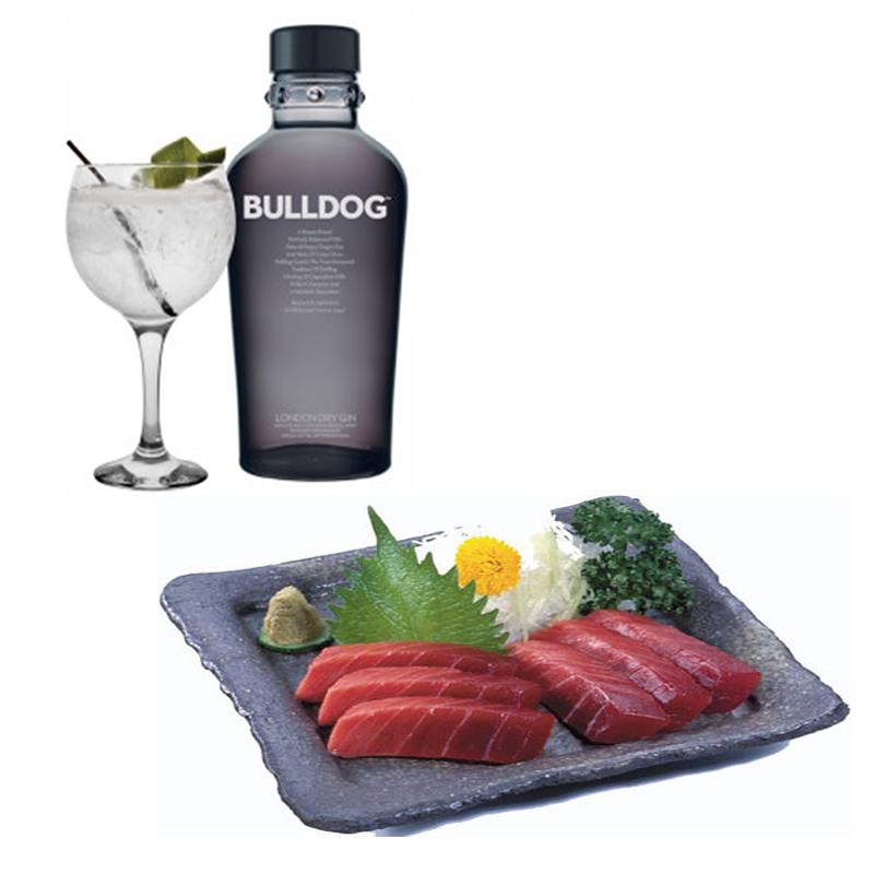 Gin Tonic de Bulldog con Sashimi de atun
