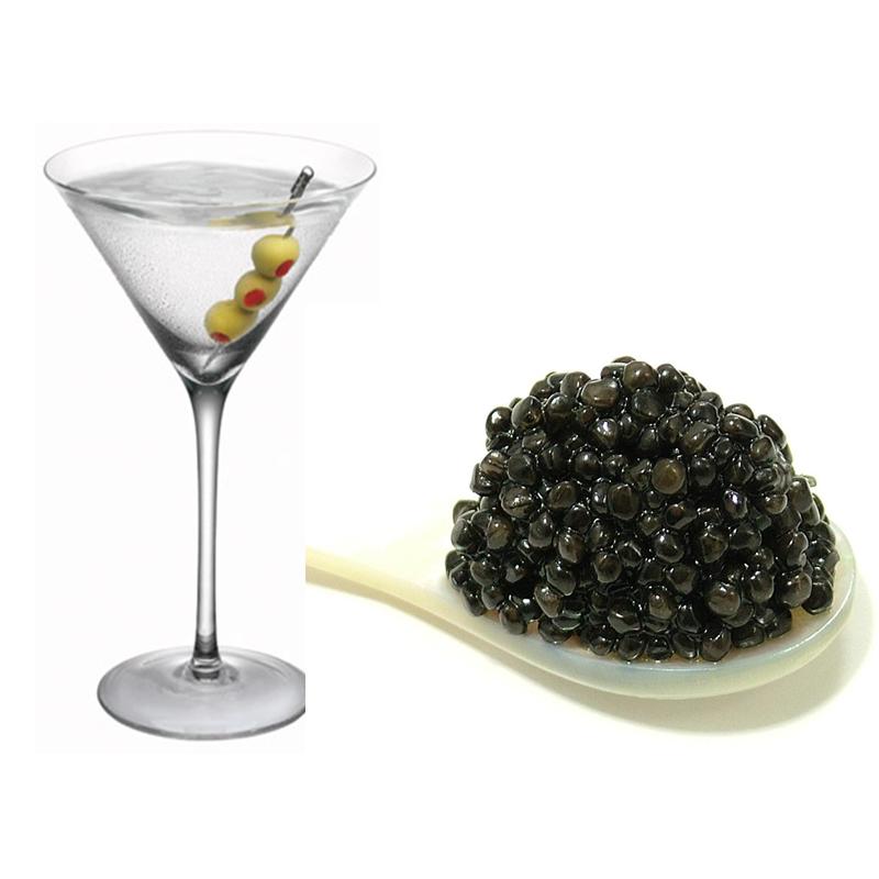 Dry martini con caviar
