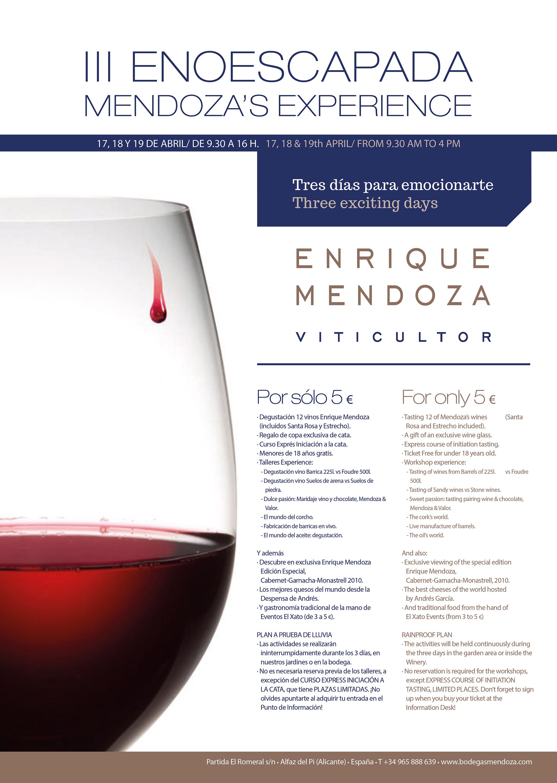III Enoescapada Mendoza's Experience, enturismo en Alicante, Enrique Mendoza