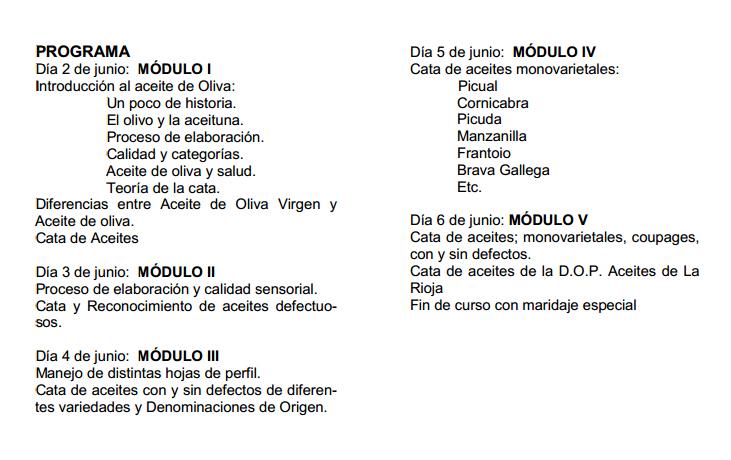 Programa Cata de Aceite La Rioja