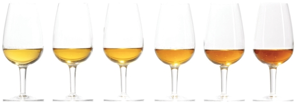 Copas de whisky de distinta gama de colores