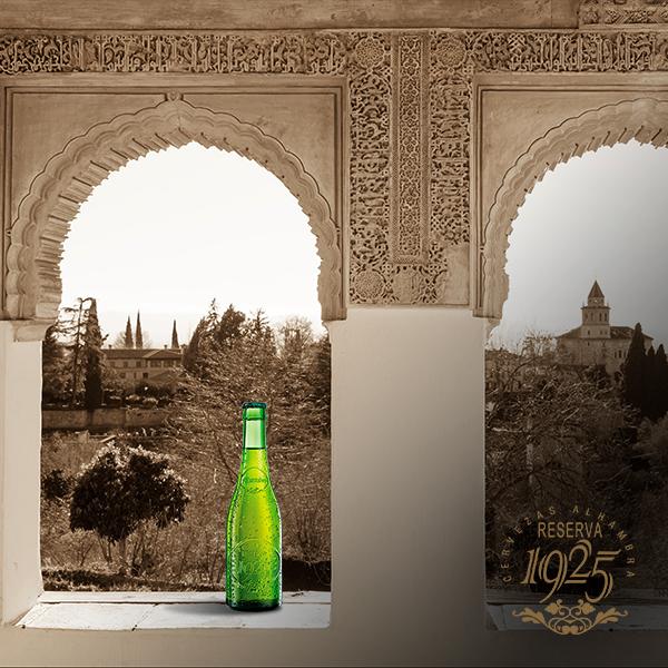Alhambra de Granada con la cerveza Alhambra Reserva 1925