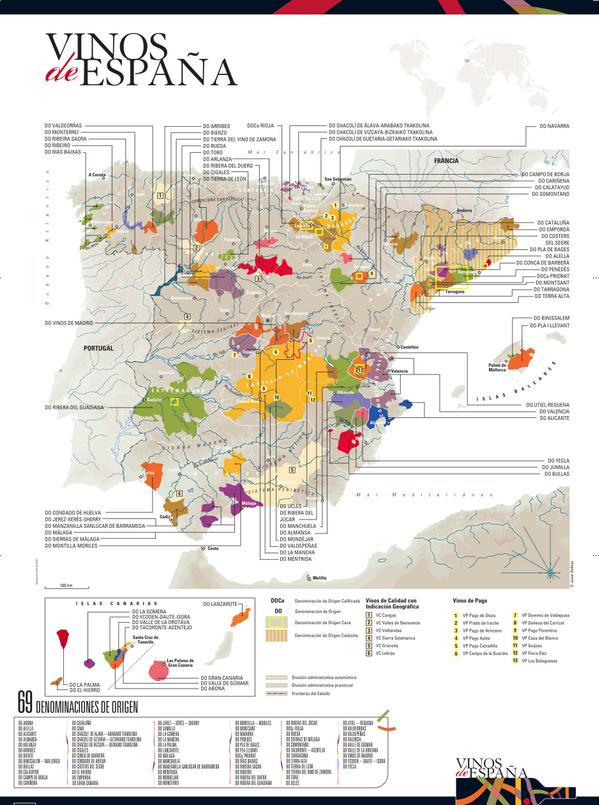 Mapa denominaciones de origen españolas