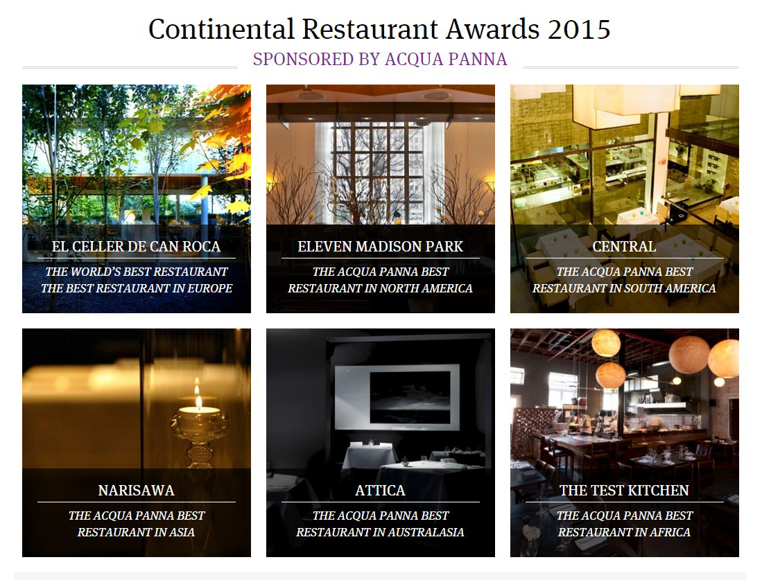 Restaurantes por continentes Los 50 Mejores Restaurantes del Mundo 2015, Revista Restaurant