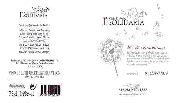Etiqueta y contraetiqueta de Vendimia Solidaria de Albadía Retuerta