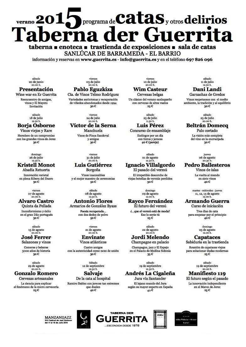 Cartel de Catas Taberna Der Guerrita 205