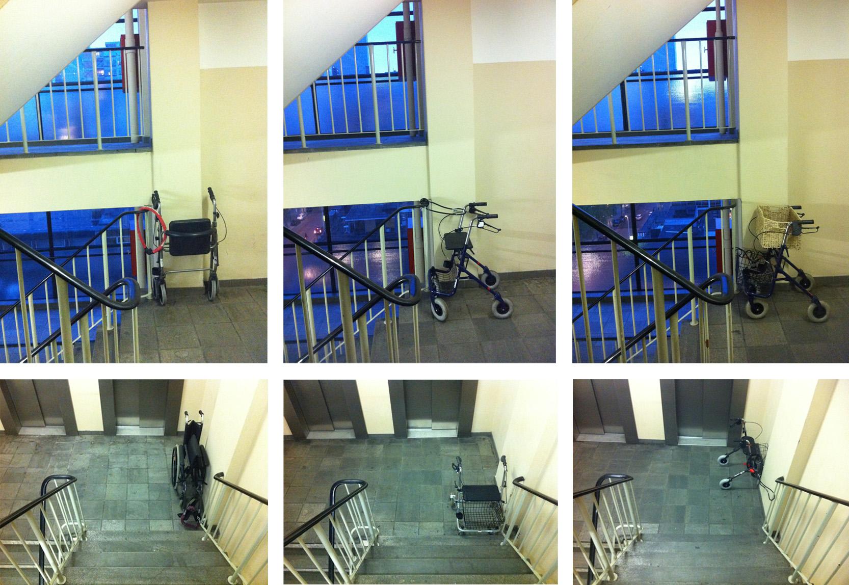 Rolstoelen in het trappenhuis