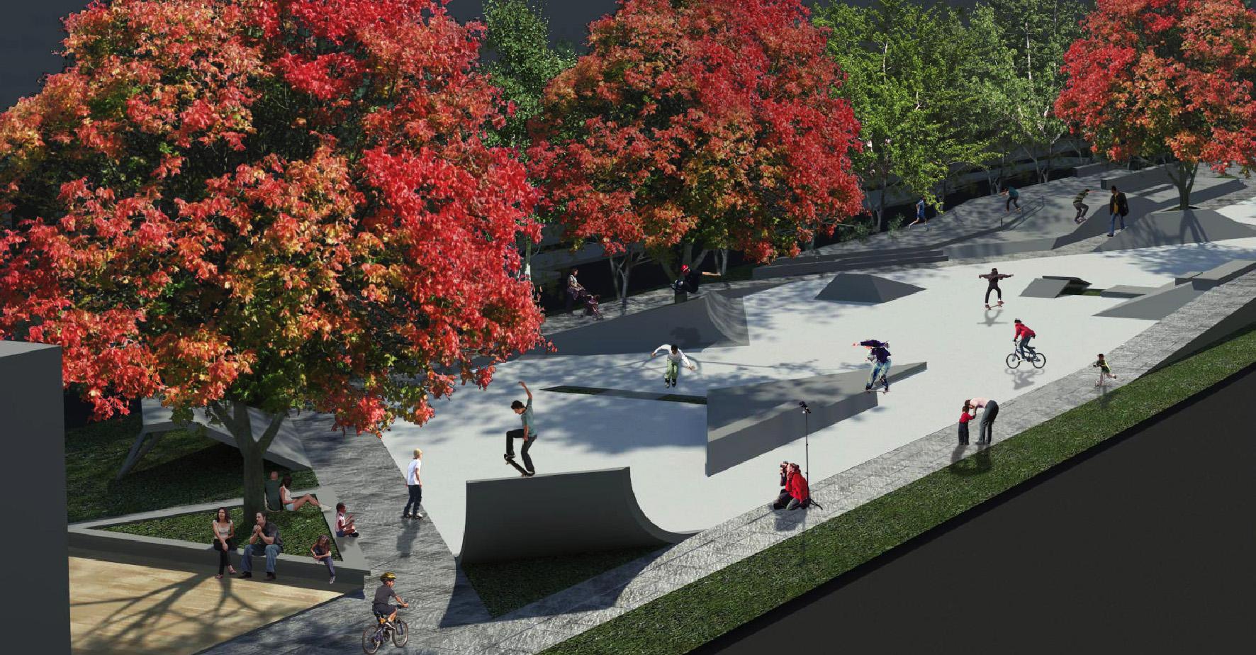 Het toekomstige skatepark aan de Westblaak, zoals dat is voorzien door de Kerngroep Westblaak.