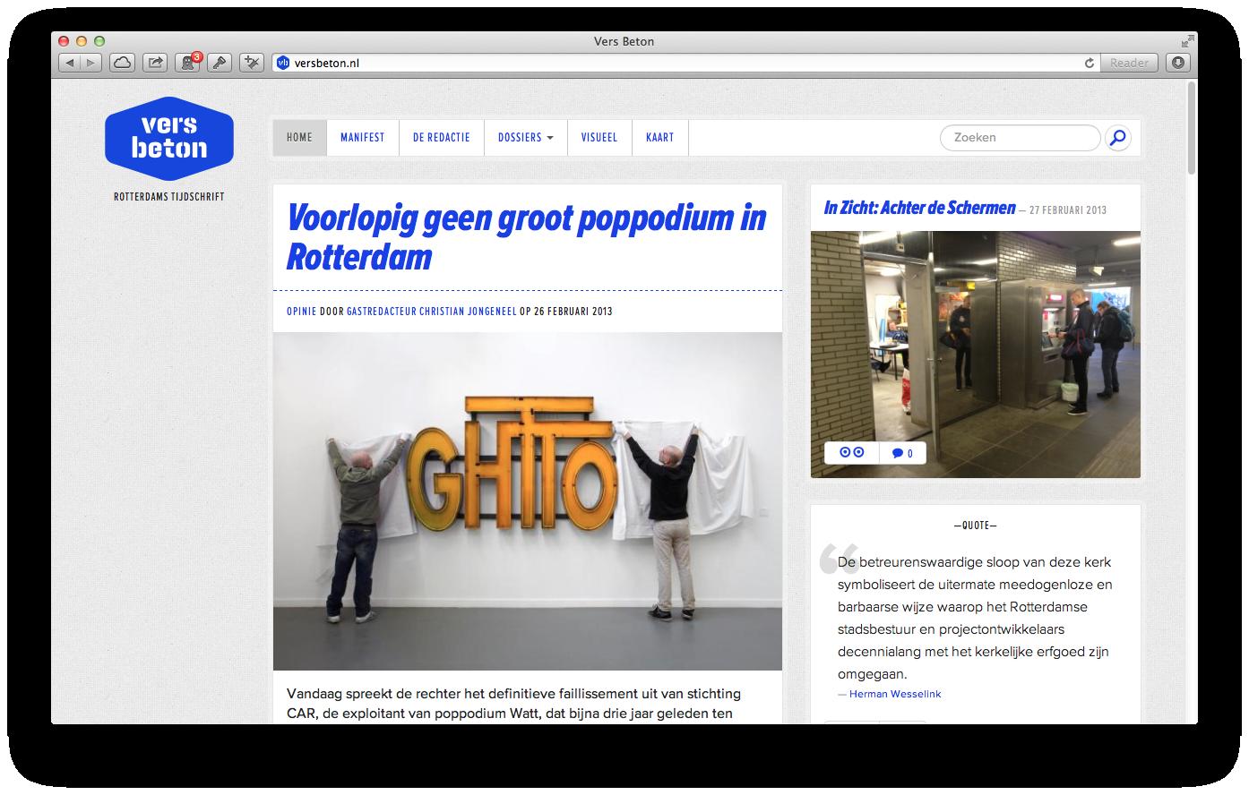 Screenshot van de homepage op 28-02-2013