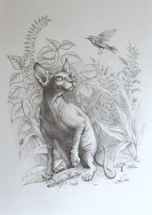 """""""Domestic Hunter"""" -  gemaakt voor Cats vs Dogs expositie in Opperclaes"""