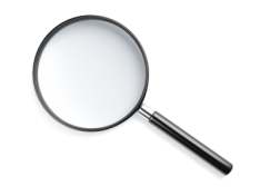 magnifying glass on white background