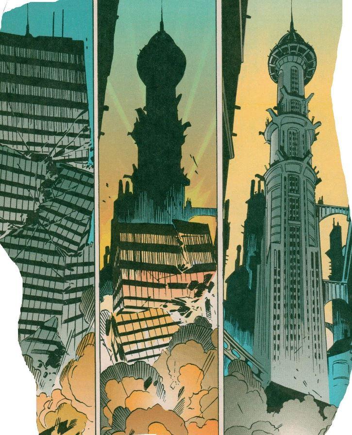 In de reeks Destroyer: A Tale Of Two Cities (1992) blaast een gefrustreerde architectuurhistoricus modernistische kantoorgebouwen op omdat ze het zicht ontnemen op de neogotische architectuur van Cyrus Pinkney